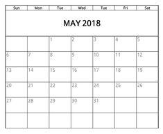 May 2018 Calendar, 2018 Calendar Template, Calendar Printable, Clip Art, Printables, Templates, Usa, Holiday, Stencils