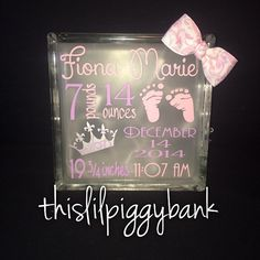 Birth anouncement light up glass block by Thislilpiggybank on Etsy