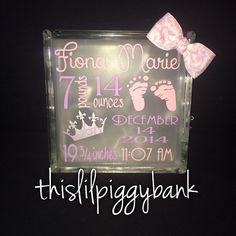 Birth anouncement light up glass block by Thislilpiggybank on Etsy