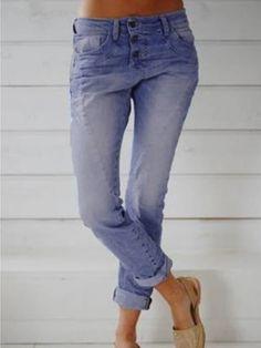 Women long pants button plain blue jeans - Cicicloth Jeans Material, Trend Fashion, Fashion Outfits, Women's Fashion, Fashion Online, Fashion Styles, Latest Fashion, Denim Pants, Blue Jeans