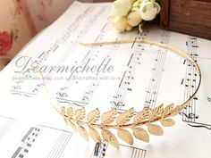 Athena (in Gold) - Victorian Style Greek Goddess Leaf Headband, Vintage Wedding Bridal Accesorries