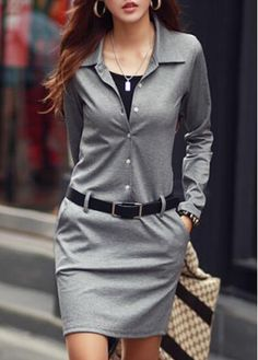 Charming Grey Belt Decoration Skinny Dress for Autumn with cheap wholesale price, buy Charming Grey Belt Decoration Skinny Dress for Autumn at rotita.com !