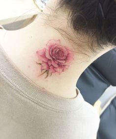 Rose Flower Tattoo on Neck for Girls You Will Love For Sure