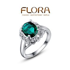 FLORA 2014 High Quality Classic Green Big Crystal Platinum Rings Fashion Jewelry Best Gift For Woman For Party Wholesale