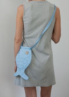 Pastel Blue / Aqua Blue Bag Purse Fish Bag Purse Small by Marewo