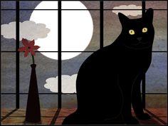 Black Cat Loves Full Moon