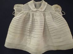 Vintage 1960s Baby Girl White Organdy Dress Pleated Pink Rosettes