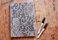 How to make a lace patterned notebook.  These would be fun journals to make with or for the people in your group!