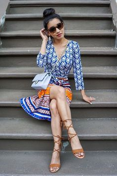 Wrap dress + lace-up sandals