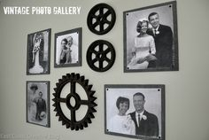 Vintage Gallery Wall using old family photos.  From East Coast Creative's Guest Room Makeover!
