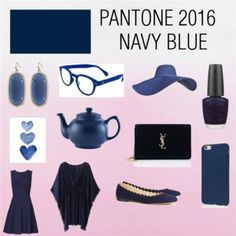 Designer Clothes, Shoes & Bags for Women Pantone Navy, Pantone 2016, Snorkel Blue, Tartan, Yves Saint Laurent, Navy Blue, Jewelry Making, Shoe Bag, Polyvore