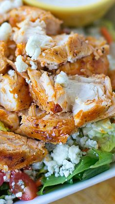Buffalo Chicken Salad-add some more veggies carrots, celery and red onion and possibly cucumbers and cherry tomatoes-AS