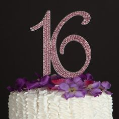 16th Birthday Cake Toppers Pink Crystal by jenuinecraftsandmore