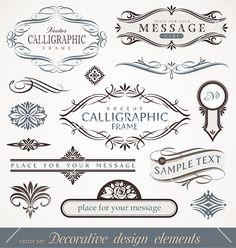 Calligraphic design elements vector on VectorStock®