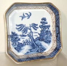 VINTAGE BOOTHS BLUE & WHITE REAL OLD WILLOW GILT EDGE DISH