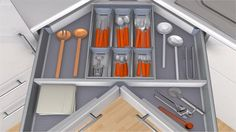 Film DYNAMIC SPACE ORGA-LINE for cutlery in the SPACE CORNER application