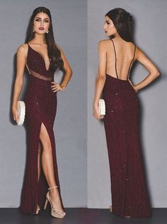 2018 Popular Burgundy Beaded Long Prom Dress,V-Neck Open Back Sexy Evening Party Dress · SexyPromDress · Online Store Powered by Storenvy Dance Dresses, Sexy Dresses, Cute Dresses, Beautiful Dresses, Formal Dresses, Party Dresses For Women, Long Dresses, Fashion Dresses, Outfit Trends