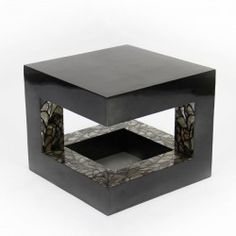 TUB LEG Coffee table in silver leaf colour S35 and pattern brown MOP with black lacquerware #Cravt #Original #Craftsmanship #Living #Furniture #Luxury #Interior #Coffee #Tables #Mother #Of #Pearl #Mop #Lacquerware