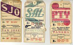 A group of 1950s Pan Am baggage tags for destinations, San Jose, Costa Rica, San Salvador, El Salvador, Panama City, Panama.