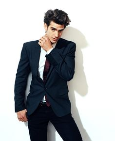 Andrew Garfield- Navy blazer and crimson red tie.
