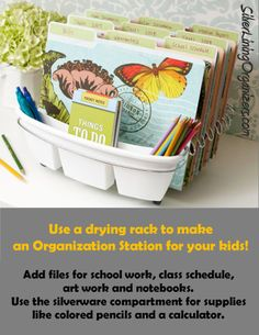 Now this is a GREAT idea!  use a drying rack as an organization station...