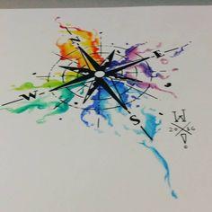 Rosa dos ventos aquarela para tattoo do Patrick. #watercolortattoo #aquarela #rosadosventos #compass #color #tattoodesign #tattooidea #willtat2 #braziliantattooartist #tattootime #inklife #compasstattoo