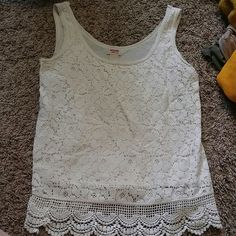 White, lace tank top White, lace tank top. Super cute for spring/summer or fall/winter with a cardigan! Mossimo Supply Co Tops Tank Tops