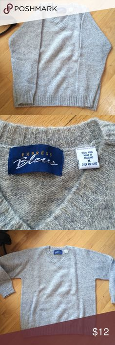 100% Wool Sweater Express Bleus Sweater Vintage! So so warm and cute fit :) Vintage Sweaters V-Necks