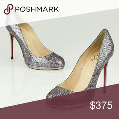 """Christian Louboutin Filo Glitter 38.5 BEST PRICE. SORRY BUT ALL OFFERS WILL BE DECLINED!    Silver glittler. 120 MM heel with a 1/2"""" platform feels like a 4"""" heel. Almond toe. Mirrored silver heel. Comes with original box and dust bag. Fits US size 8.  Will trade selectively. Trade value is higher than listed price.   BEST PRICE. SORRY BUT ALL OFFERS WILL BE DECLINED! Christian Louboutin Shoes"""