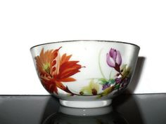 Vintage Chinese Porcelain Bowl Hand Painted With Flowers Of East Asia Footed Rice Bowl Oriental Ceramic Bowl China 1960s Red Pink Flowers