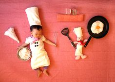 sleeping baby cooking up a storm