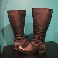 Tall Silver Dressy Boots Few scuffs, toe and heel are supposed to be bright silver. Maurices Shoes Over the Knee Boots