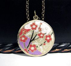 Red Cherry Blossoms Locket Necklace 32mm Round 24 by CMCCreations, $16.00