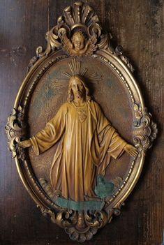 Sacred Heart of Jesus Religious Art Relief –Cataluña, Spain Religious Pictures, Jesus Pictures, Religious Icons, Religious Art, Catholic Relics, Catholic Art, Catholic Saints, Roman Catholic, Christian Artwork
