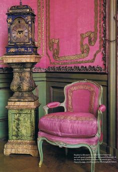 This antique French room is loaded with inspiration for a French interior. I love the pink and gold color combination. The ribbon detail on the chair and wall is gorgeous. French Chairs, Decor, French Country Interiors, Pink Chair, French Decor, Chair, French Interior, Interior, Country Interior Decorating