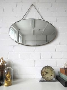 Vintage Oval Bevelled Edge Wall Mirror Art Deco Bevel Edge Mirror by uulipolli on Etsy