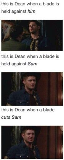 And these are ALL when Sam is tearing Dean's heart to shreds! And Dean is already feeling the effects of the blade! Yet STILL he falls apart:'(