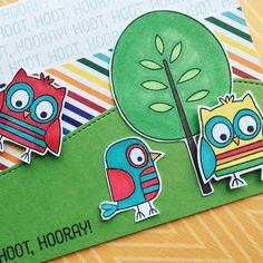 Birthday card using My Favorite Things Tweet Wishes stamp set. Hoot hoot hooray!
