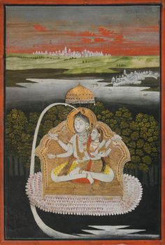 Shiva and Parvati enthroned. Deccan, Golconda. First half of 18th century. Gouache and gold on paper. From the collection of Peter Blohm.