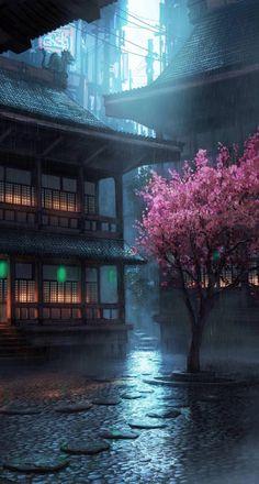 Wallpaper hd Source by Fantasy Places, Fantasy World, Beautiful World, Beautiful Places, Casa Anime, Asian Architecture, Environment Design, Fantasy Landscape, Anime Scenery