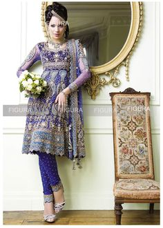 A bridal  designer anarkali dress suit in the shades of blue with heavy embroidery, #blue #bridal #anarkali