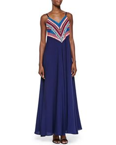 Mara Hoffman Strappy Gown W/ Embroidered Bodice