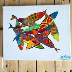 Tableau de poissons naïfs couleurs vives ,ces poissons sont disposés dans toutes les directions et se superposent sur