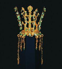"Gold and Jade Crown. H. 10 3/4"". Korea, Silla Kingdom, latter 5th C. excavated from Hwangnam Daechong Tomb. Gyeongju National Museum, Korea, National Treasure 191"
