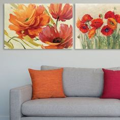 Lisa Audit and Carol Rowan's red and orange art prints meld together to showcase gorgeous contemporary floral designs that are both brilliant and inspiring. Perfect for an office, living room, or guest room.