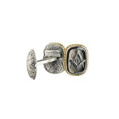 Gerochristo Jewelry Signet collection Cufflinks with solid yellow gold 18k, sterling silver and stones in bronze with black platinum.