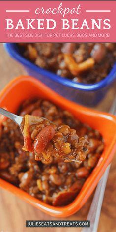 Baked Beans With Hamburger, Hamburger Side Dishes, Baked Beans Crock Pot, Beans In Crockpot, Crock Pot Soup, Best Crockpot Recipes, Slow Cooker Recipes, Beef Recipes, Best Side Dishes