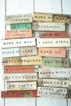 Wooden magnets. Stamped words