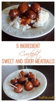 5 Ingredient Crockpot Sweet and Sour Meatballs - Craft
