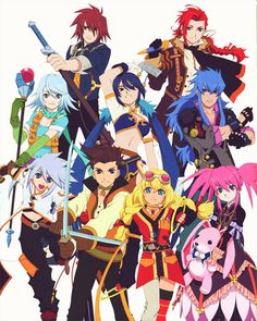 Tales of Symphonia Chronicles costumes. Genis as Luke, Lloyd as Guy, Colette as Rita, Presea as Elize, Raine as Pascel, Shina as Judith, Regal as Malik, Kratos as Ludger, Zelos as Alvin.